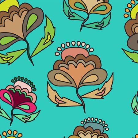 oriental vector: floral seamless background. oriental or slavs style. vector illustration Illustration