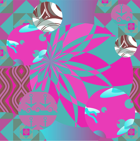 seamless patchwork pattern with flowers stock vector Vector