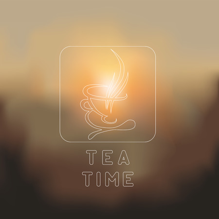 blurred background. cup of tea. vector illustration Vector