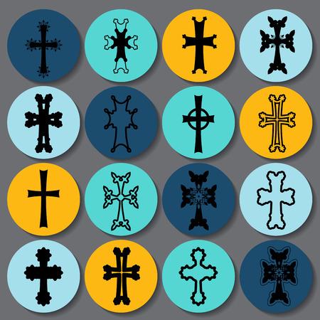 armenian: set of crosses. armenian cross. stock vector