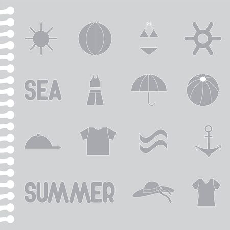 boll: set of summer icon on the ripped paper Illustration