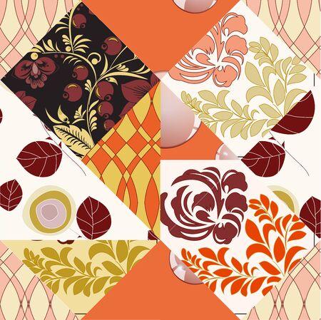 slavs: seamless paychwork background. floral gesign. slavs Illustration