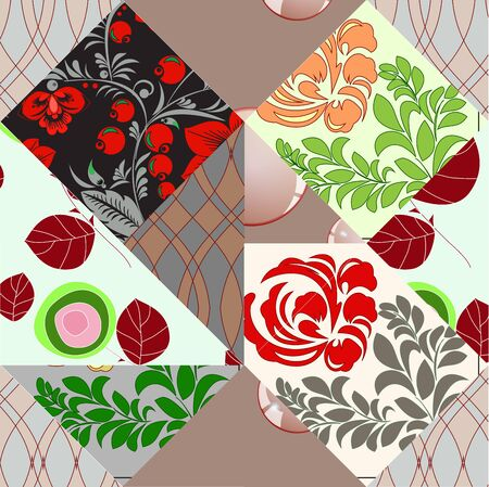russian seamless patchwork background Vector