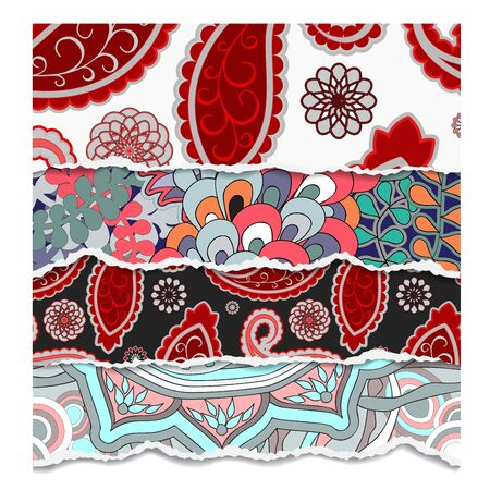 torn paper background: torn paper background with abstract floral pattern-stock vector