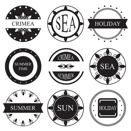 logotypes: retro vintage insignias or logotypes set. vector design element Illustration