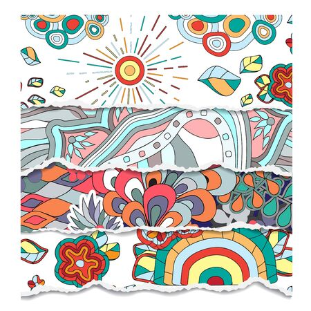 torn paper background: torn paper background with abstract doodling pattern-stock vector