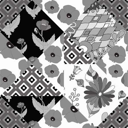 slavs: seamless patchwork pattern with flowers - stock vector