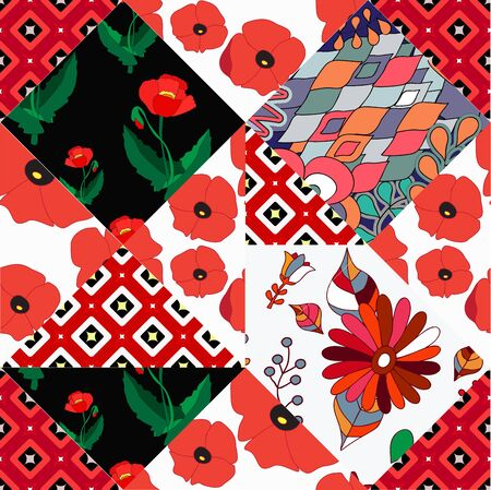 patchwork pattern: seamless patchwork pattern with flowers - stock vector