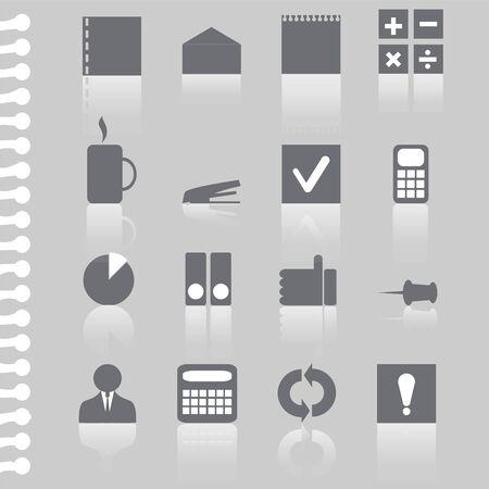 icone office: un ensemble de bureau ic�ne sur le papier d�chir� Illustration