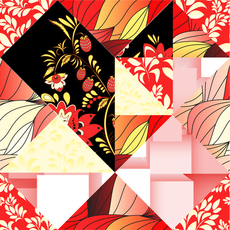 patchwork: russian seamless patchwork. stock vector
