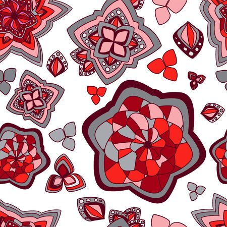 slavs: vector seamless texture with abstract flower. ethnic seamless pattern. summer template.