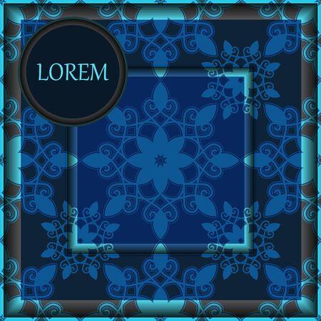 oriental flower: card. poster, brochure template with oriental flower. armenian orient design.