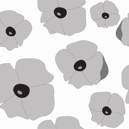 seamless flower pattern. poppy. illustration Vector