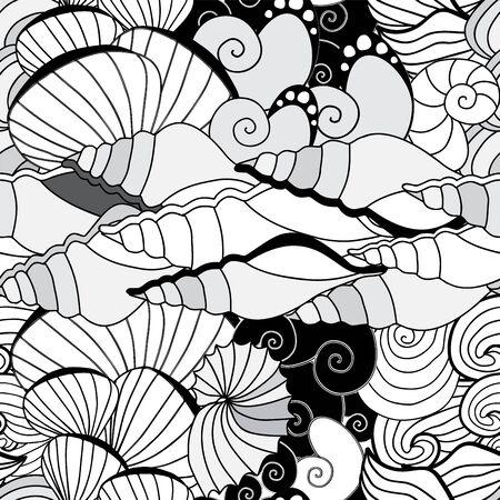 Patrón de vectores sin fisuras concha marina. diseño mar Foto de archivo - 40690359