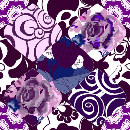 patchwork pattern: seamless patchwork pattern with  flowers