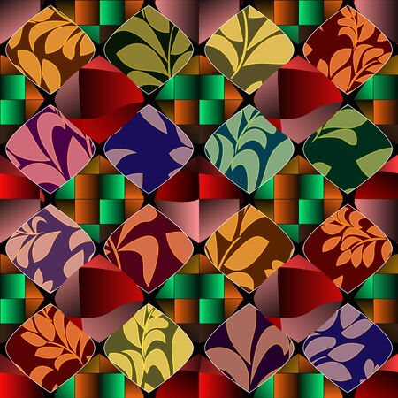 patchwork: seamless patchwork pattern with  flowers