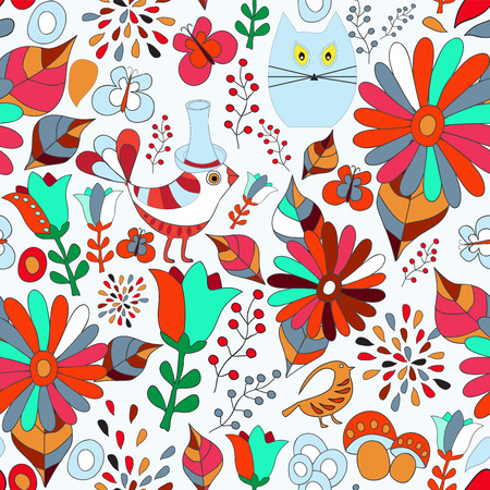 cover background time: vector seamless pattern with flower, bird and butterfly, cartoon doodling design. summer background. Illustration