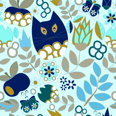 Vector sin patrón con flor, gato y mariposa, diseño de dibujos animados garabatos. fondo de verano. Foto de archivo - 42265574