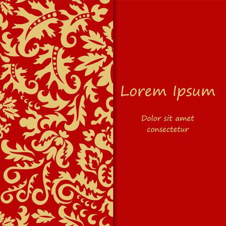 slavs: card. poster, brochure template with oriental flower. russia or slavs design. Illustration