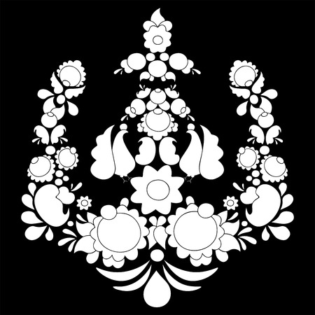 russian pattern: traditional russian pattern. different leaves and flower. slavs design. vector