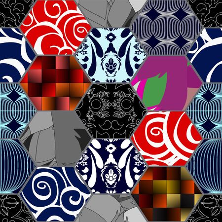 fragmented: seamless patchwork pattern with  flowers. russia or slavs design Illustration