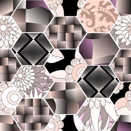 slavs: seamless patchwork pattern with  flowers. russia or slavs design Illustration