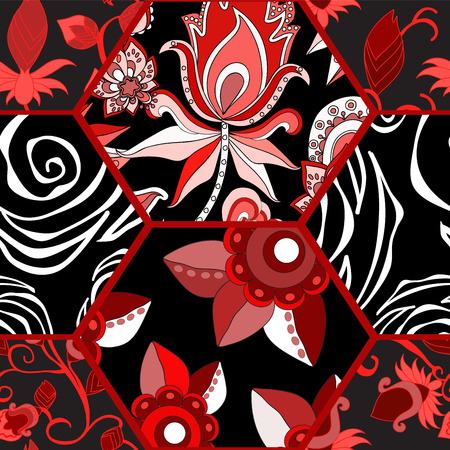 Patrón de mosaico sin fisuras con flores Foto de archivo - 42265694