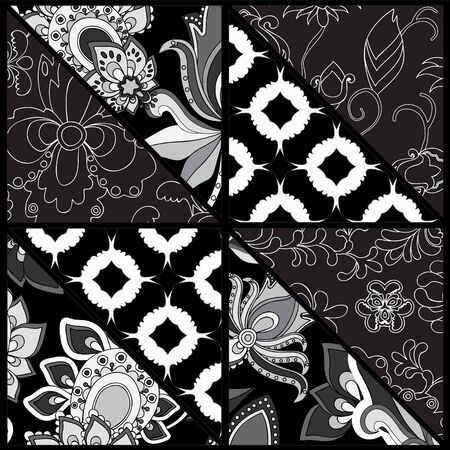 de focused: seamless patchwork pattern with flowers - stock vector