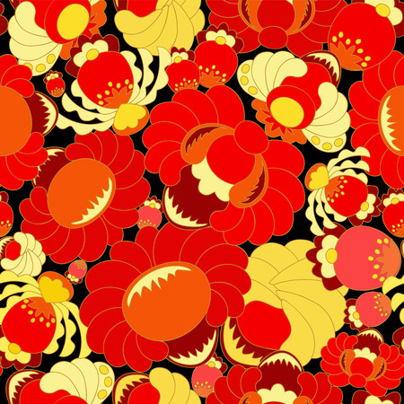 slavs: vector seamless texture with slavs flower. russia seamless pattern. summer template. Illustration