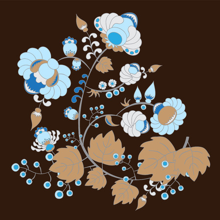 slavs: traditional russian or slavs pattern with flower. berry and leaves. vector illustration