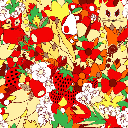 apple snail: vector seamless pattern with flower,cat, snail. apple and strawberry, cartoon doodling design. summer background.