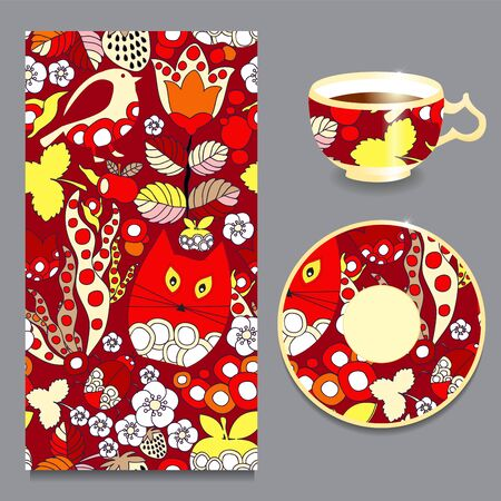 cartoom: vector seamless doodl pattern with cup and plate. cartoom cat, bird and strawberry Illustration