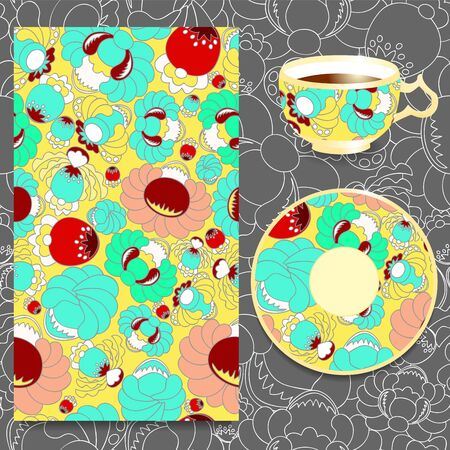 slavs: vector seamless floral russian or slavs pattern with cup and plate. stock