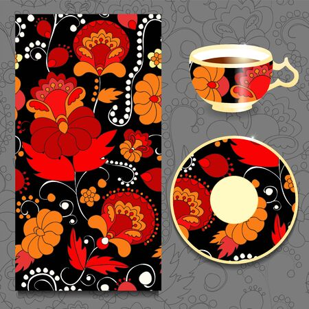 orient: vector seamless orient pattern with cup and plate. russian design