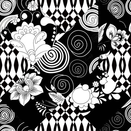 fragmented: vector seamless patchwork pattern. oriental or russian design Illustration