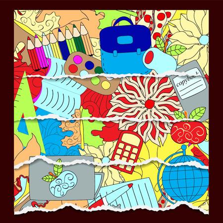 Patrón de la escuela sin problemas. antecedentes educacionales. diseño de dibujos animados. papel rasgado Foto de archivo - 43504136