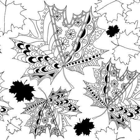 Lager nahtlose Herbst Hintergrund. Schwarz-Weiß-Ahornblatt Standard-Bild - 44100964