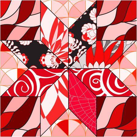 slavs: vector seamless patchwork pattern. oriental or russian design Illustration