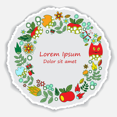 date fruit: greeting card. poster, brochure template with apple. cat and flower. vector cirlcular  frame. torn paper Illustration