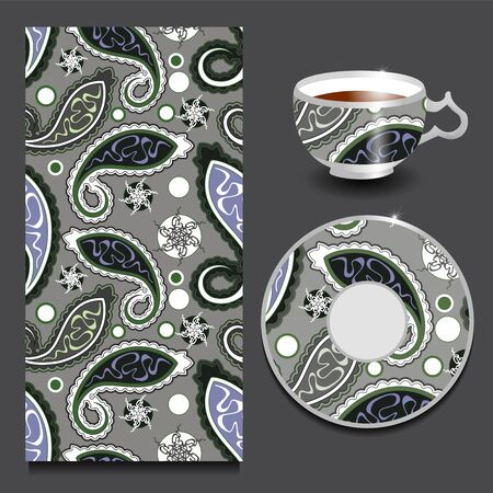 seamless floral: vector seamless floral paisley pattern with cup and plate. stock Illustration