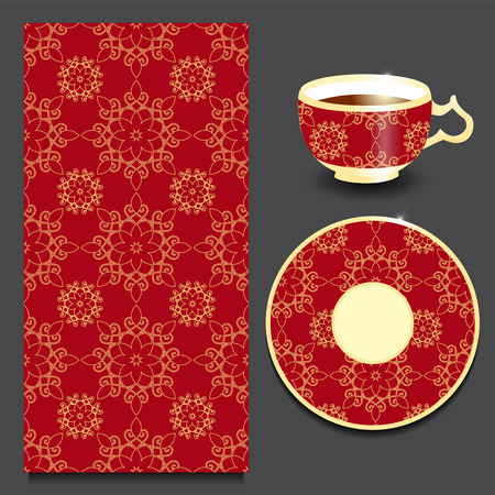 seamless floral: vector seamless floral orient or armenia pattern with cup and plate. stock Illustration