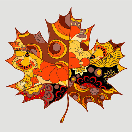 stock single isolated maple leaf.patchwork autumn background Çizim