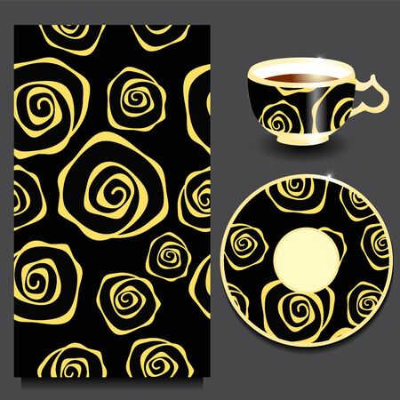 seamless floral: vector seamless floral russian or slavs pattern with cup and plate. stock