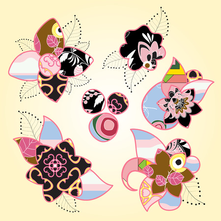 patchwork pattern: set of stock vector floral patchwork pattern. russian ornament