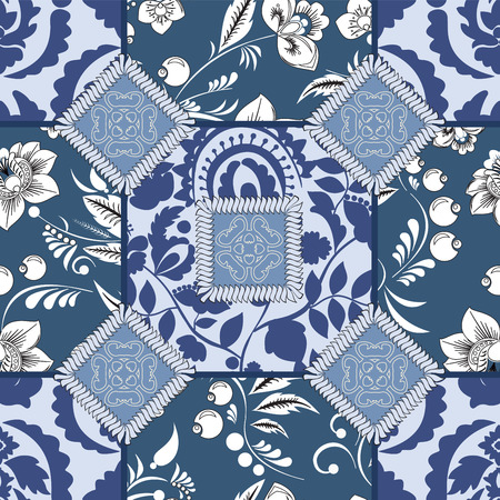 oriental vector: vector seamless patchwork pattern. oriental or russian design Illustration