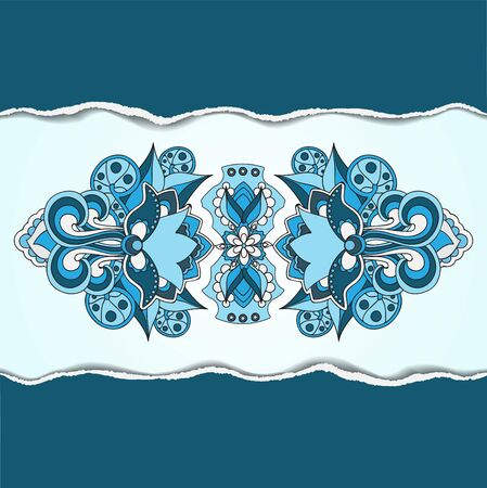oriental vector: sock vector blue oriental or indian pattern on the ripped paper Illustration