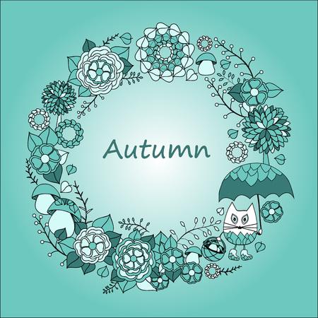 illustration invitation: card. poster, brochure template with cat, tree, umbrella, mushroom and flower. Illustration