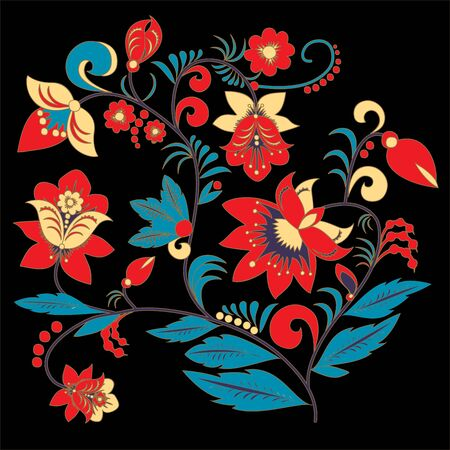 orient: traditional russia or orient flower pattern. vector illustration