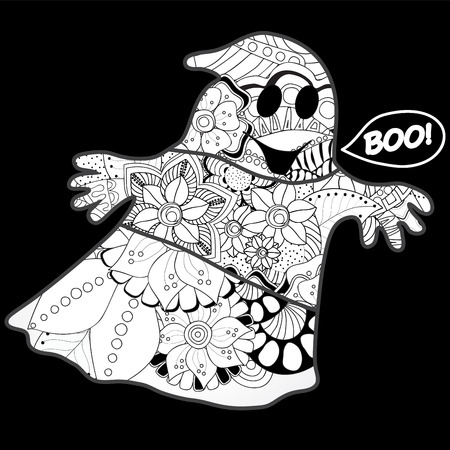 ghost town: vector halloween background with ghost