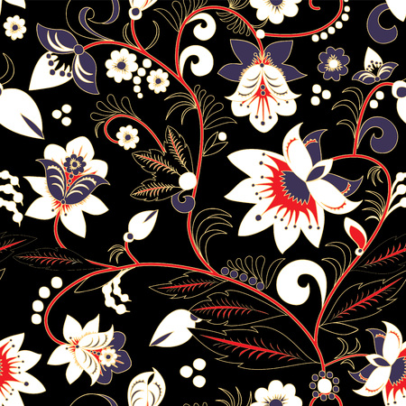 orient: seamless traditional russia or orient flower pattern. vector illustration Illustration